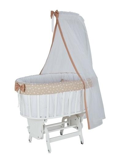Babycom Lake Beyaz Sepet Beşik + Gri Zikzak Uyku Seti Kahve